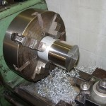 Aluminum Stock in Lathe