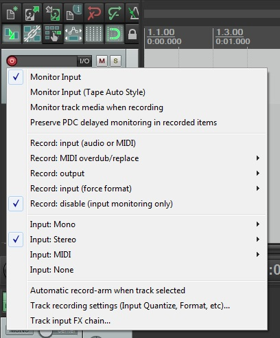 how to change input settings in reaper